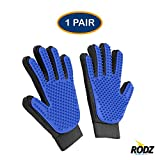 Rodz Premium Pet Grooming Glove for Shedding, Bathing, Grooming, De-Shedding- Enhanced Five Finger Design With Velcro Adjustable Strap - Perfect for Dogs,Cats & Any Small Pets [AS SEEN ON TV]