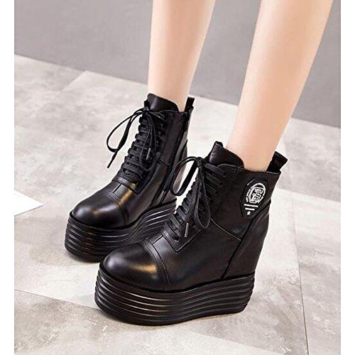 piel medias mujer Botas de casual invierno Moda HSXZ ZHZNVX de negro para Botas Fall de negro goma Zapatos de combate auténtica de 4qXxatTx
