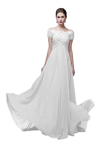 Vimans Womens Elegant Off Shoulder Long White Lace Bridal Prom Dress, ...