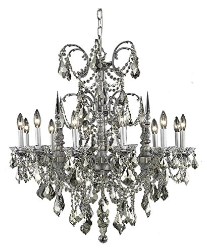 (Royal Cut Smoky Golden Teak Crystal Athena 12-Light, Single-Tier Crystal Chandelier, Finished in Pewter with Smoky Golden Teak Crystals)