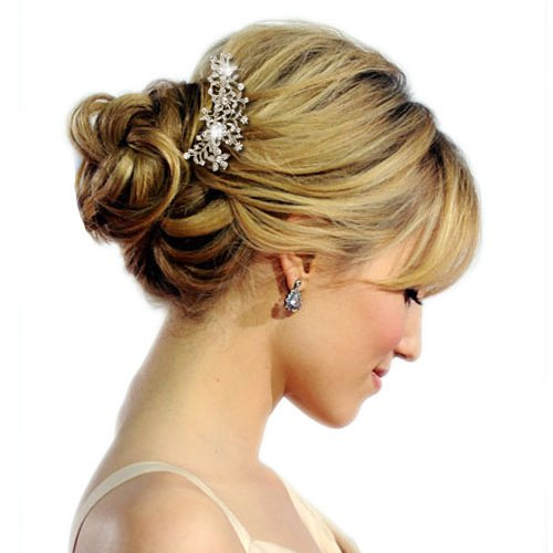 Ever Faith Wedding Flower Leaf Hair Comb Clear Austrian Crystal Silver-Tone N03785-1