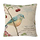 wonbye 18 x 18 Inches Cotton Linen Jacquard Bird On the Tree Accent Decorative Throw Pillow Case Hand Painted Cushion Cover Cute Traditional Chinese Painting for Sofa,with Zipper