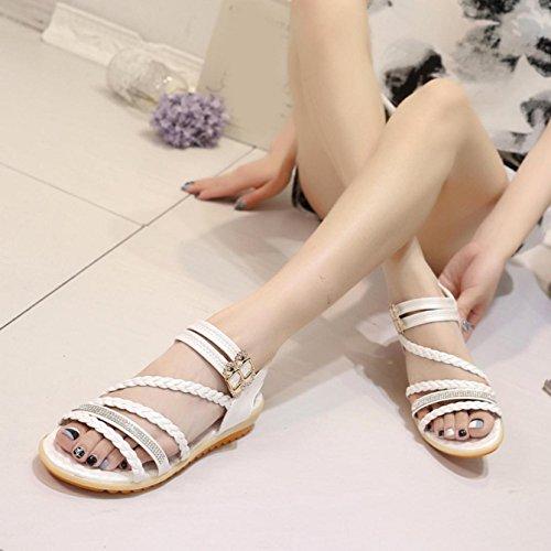 Sandalias de mujer, Internet Sandalias cómodas del verano plano de las mujeres Blanco