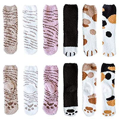 Fuzzy Socks for Women - Warm Slipper Socks, Super Soft & Plush Cushion, Cozy Ankle Crew Length Comfy Socks for Home and Sleeping [6 Pack - Animal Paw Series]