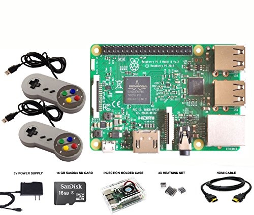 Raspberry Pi 3 1GB RetroPie Emulation Station 16GB Micro SD Power