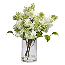 Nearly Natural 4805 Lilac Silk Flower Arrangement, White