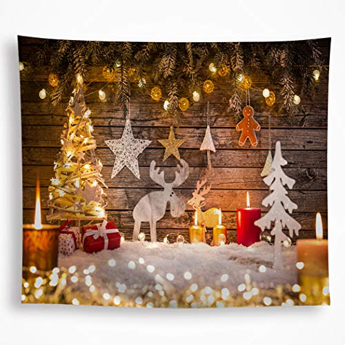 VAKADO Merry Christmas Elements Tapestry Wall Hanging Xmas Tree Reindeer Snow Stars Lights Candles Wall Art Blanket Decor for Kids Nursery Dorm Party ()