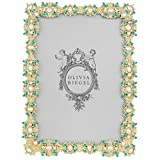 turquoise and gold picture frames - GOLD BEVERLY Turquoise Pearl Vermeil 5x7 frame by Olivia Riegel - 5x7