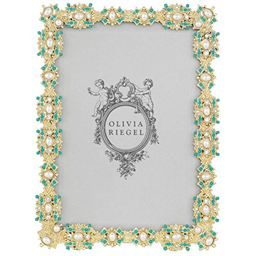 GOLD BEVERLY Turquoise Pearl Vermeil 5x7 frame by Olivia Riegel - 5x7 (Pearl Frame Flower)