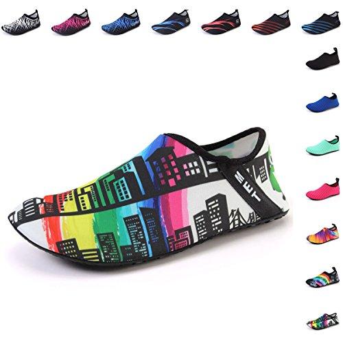 FCKEE Water Sports Shoes Barefoot Quick-Dry Aqua Yoga Socks Slip-on for Men Women Kids,BL,Building-32/33