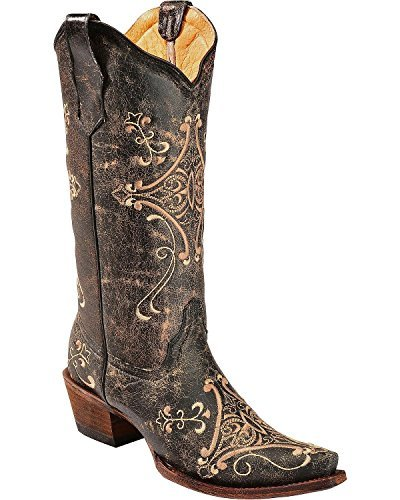 Circle G Women's Crackle Embroidered Cowgirl Boot Snip Toe Black 6 M US