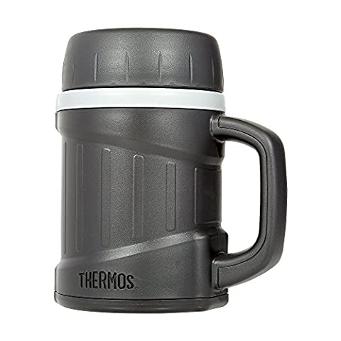 Thermos Double Wall Foam Insulated Microwavable Food Jar, Gray, 16 Ounces (Stainless King Ounce Food Jar)