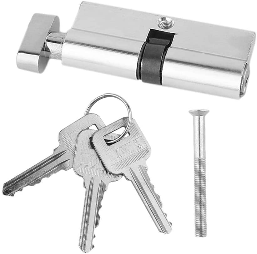 SKVVIDY Lock and Cylinder 1PCS 70mm Aluminum Metal Door Lock Cylinder Home Security Anti-Snap Anti-Drill with 3 Keys Silver Tone Set Tools Cylinder Lock