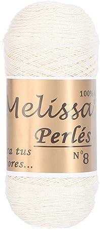Melissa Perlés 8 - Hilo de Algodón para Ganchillo Hilado 100% Algodón para DIY y Tejer a Mano, Blanco 16, (75 g * 1 unidad): Amazon.es: Hogar