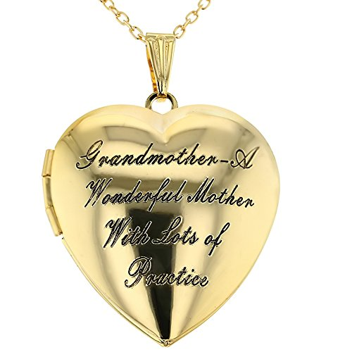 (In Season Jewelry Grandmother Locket Necklace Pendant Heart Love Photo Remembrance 19