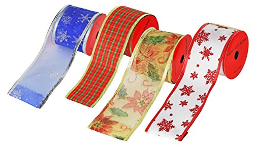 Christmas Ribbon.24 Yard Christmas Ribbon Wire Edge Satin With Glitter 4 Rolls Of 6 Yards Each For Holiday Gift Wrapping Craft Projects Diy By Gift Boutique