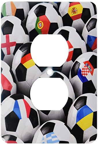 3dRose lsp_155022_6 England Germany Portugal Spain, Dm, Czech Republic Italy France Greece Ukraine Flags on Soccer Balls 2 Plug Outlet Cover by 3dRose