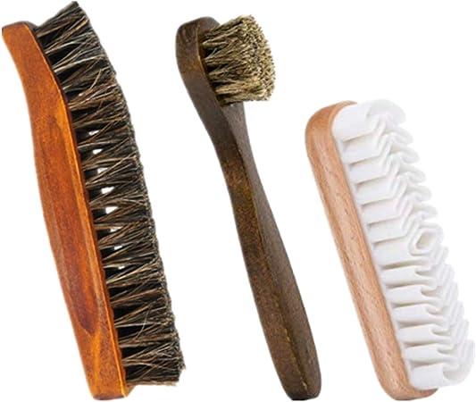 botte MULOVE Kit de brosse /à chaussures professionnel 100/% poils de crin de cheval doux et brosse en daim pour cuir sac