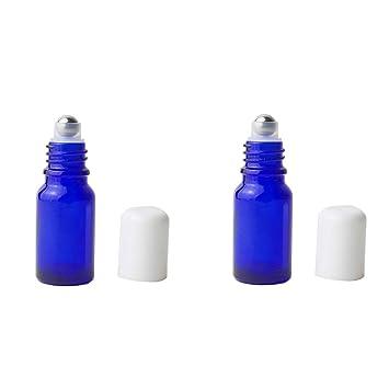 392ab9c495aa Amazon.com: 3PCS 10ml/0.34oz Empty Refillable Blue Glass Roller ...