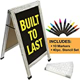 Sandwich Board Sidewalk Chalkboard Sign: Reinforced, Heavy-Duty / 10 Chalk Markers / 40 Piece Stencil Set/Chalk / Eraser/Double Sided/Large 40x22 Chalk Board Standing Sign A-Frame (6 - White)