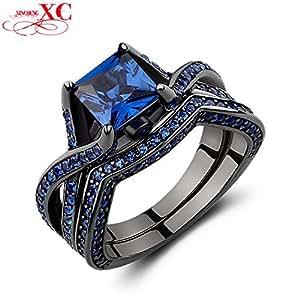 anel Vintage Design Black Gold Filled CZ Band Engagement Ring RB0228