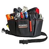 ROBUST Tool Belt Heavy Duty Workshop Tool Waist Apron - Waxed Canvas Tear Resistant Adjustable Tool Pouch 12 Pockets Technician's Handyman Tool Holder, Deluxe Organizer