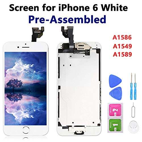Screen Replacement for iPhone 6 White 4.7 Full Assembly LCD Display Touch Digitizer with Proximity Sensor, Earpiece Speaker, Front Camera, Free Screen Protector, Repair Tools (6-White)