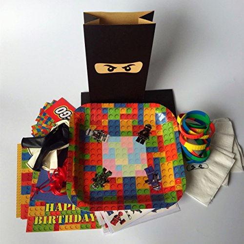 Building Bricks and Blocks Party Supplies Pack Bundle For 10 Guests Plates Wristbands Stickers Temporary Tattoos Napkins Balloons Gift Bags Banner (Wii U Games Lego Star Wars)