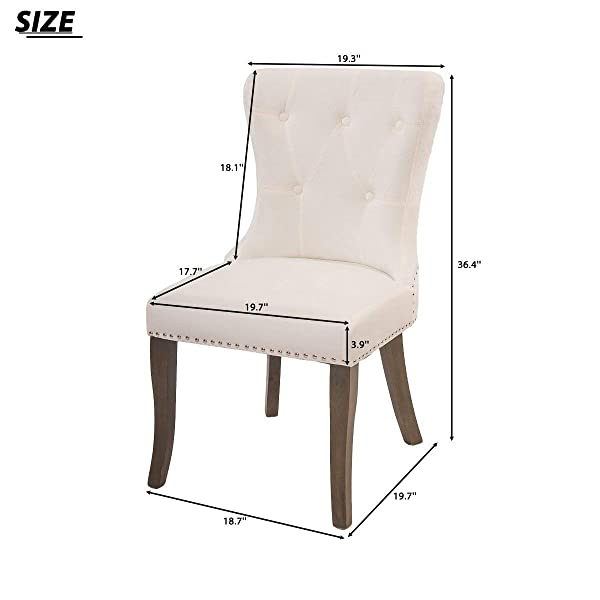 COZYWELL Dining Chair Set of 2, Upholstered Parson Chair Accent Chair Button Tufted Armless Chair with Nailhead Trim and Back Ring Pull, Velvet White (Velvet White)
