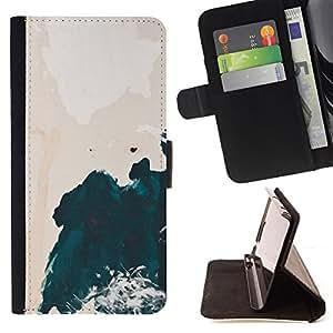 """For Samsung Galaxy J3(2016) J320F J320P J320M J320Y,S-type Acuarela del acantilado Ondas Shore"""" - Dibujo PU billetera de cuero Funda Case Caso de la piel de la bolsa protectora"""
