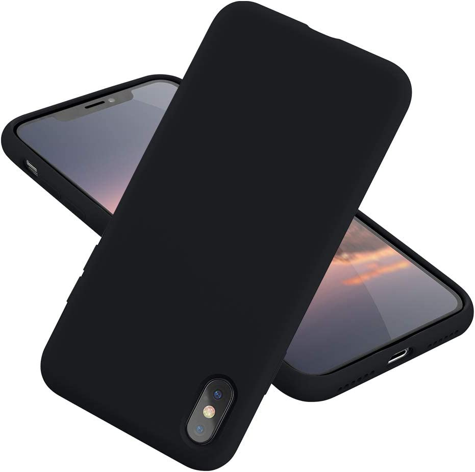 MCUCA iPhone Xs Max Case Silicone Gel Rubber Bumper Case,Ultra-Thin Soft Microfiber Lined Full Body Protective Case Cover for Apple iPhone Xs Max[2020 Updated Version] (Black)