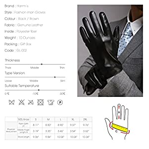 "Harrms Best Luxury Touchscreen Italian Nappa Genuine Leather Gloves for men's Texting Driving Cashmere Lining (L-8.9""(US Standard Size), BLACK(Cashmere Lining ))"