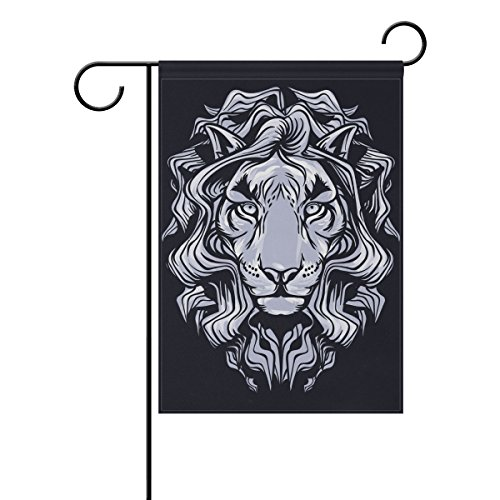 Blue Viper White Lion Face Clip Art Garden Flag Waterproof Polyester Fabric and Mildew Resistant for Outdoor Lawn and Garden Double Side Print 28 x 40 inch
