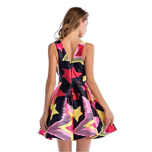 V Print Neck Women's 2018 A Deep Dress Ladies Sleeveless Dress Multi Sexy Colored Twill NEW Line YRIIqap