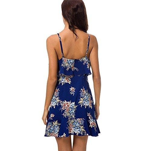 Schiena Vestiti Abito Sera Nuda Da Donna Casuale Spiaggia Blue Senza Elegante Volant Phenvivo Sling Vestito Partito Maniche Floreale Abiti Festa Con Stampa 3Aj45RLq