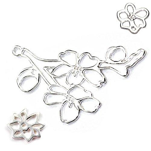 Amoracast Exclusive Sterling Silver Cherry Blossom Pendant Sampler Set - Dahlia and (Sakura Gemstone)