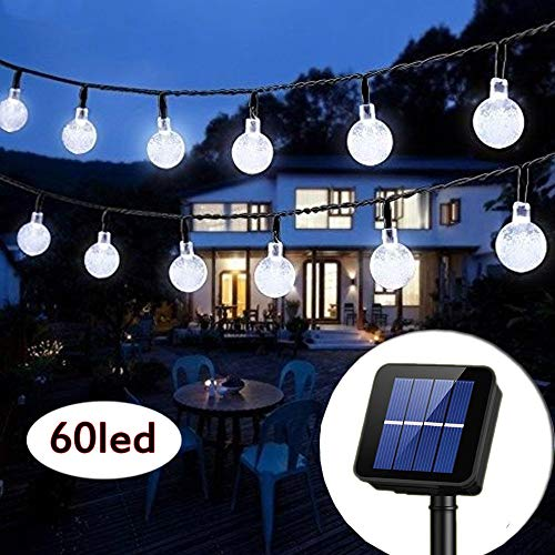 Solar String Lights Globe 33 Feet 60 Crystal Balls Waterproof LED Fairy Lights 8 Modes Outdoor Starry Lights Solar Powered String Light for Garden Yard Home Party Wedding Decoration (Cool White) (Solar Globe Lights String)