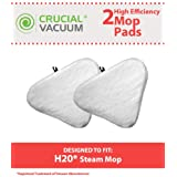 Crucial Vacuum 2 H20 (H2O) Microfiber Mop Pads Fits H20 Ti and Steamboy Steam Mops