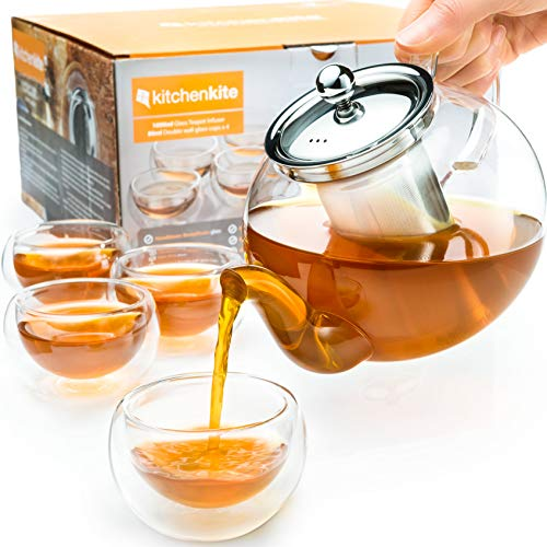 Tea Kettle Infuser Stovetop Gift Set – Glass Teapot with Removable Stainless Steel Strainer, Microwave Dishwasher Safe, Tea Pot with Blooming, Loose Leaf Tea Sampler 4 Double Wall Cups, Tea Maker