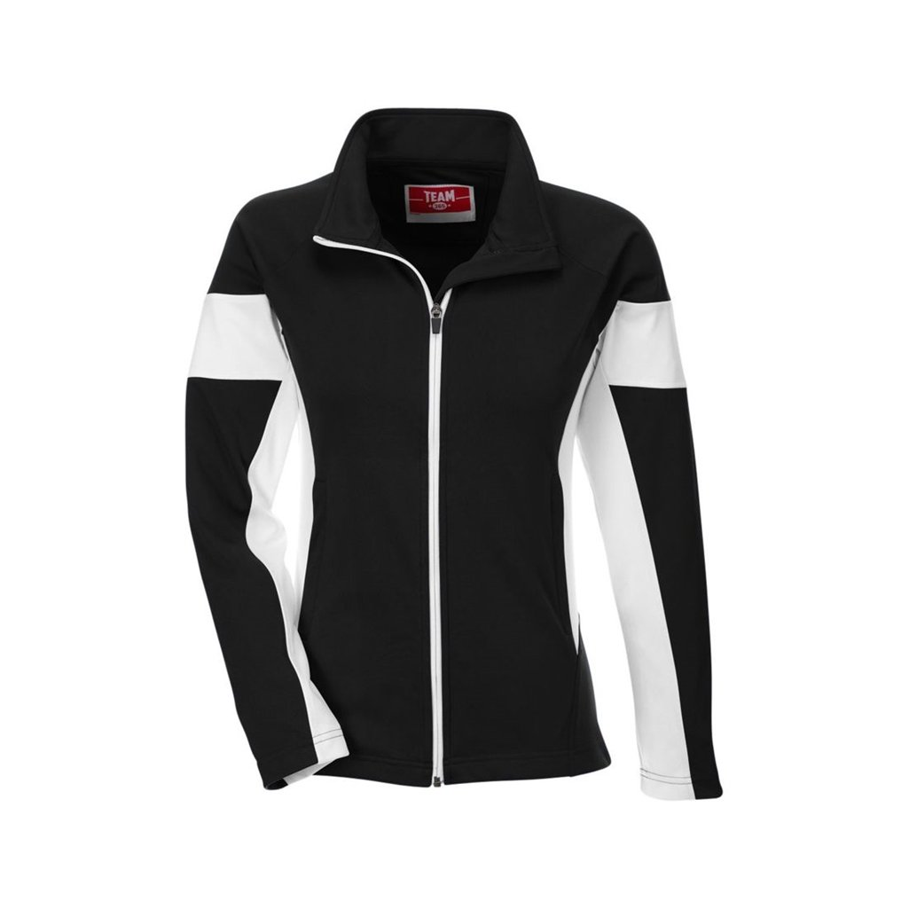 Team 365 Ladies Elite Performance Full-Zip (XX-Large, Black/White) by Ash City Apparel