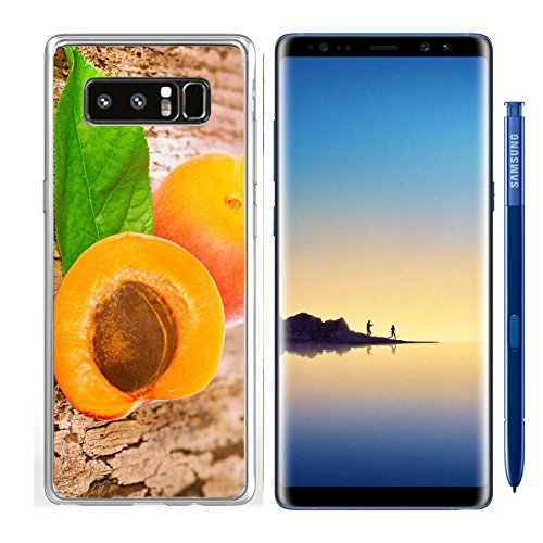 Juicy Apricot - Luxlady Samsung Galaxy Note8 Clear case Soft TPU Rubber Silicone IMAGE ID: 21587298 Fresh juicy apricots scattered on the wooden background