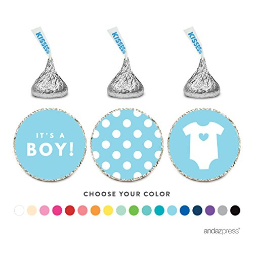 - Andaz Press Chocolate Drop Labels Trio, Fits Hershey's Kisses, Boy Baby Shower, Baby Blue, 216-Pack
