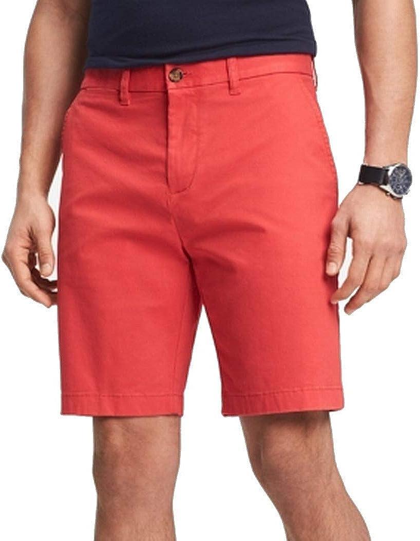 Tommy Hilfiger Mens Flex Flat Casual Khaki, Chino Shorts Red 40