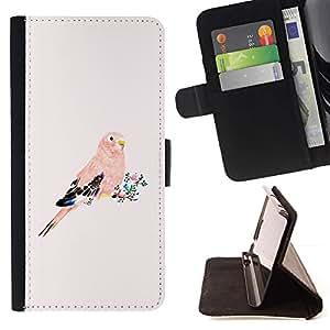 For Sony Xperia Z3 Compact / Z3 Mini (Not Z3) Case , Loro plumas rosa melocotón Pájaro Florales- la tarjeta de Crédito Slots PU Funda de cuero Monedero caso cubierta de piel