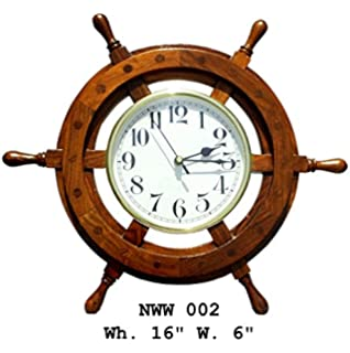 Buy Handmade Natural Wood Nautical Wheel Wall Clock Home Decor