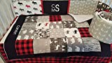 Woodland 1 to 4 Piece Lumberjack baby boy nursery crib bedding Quilt with minky dot back, bumper, bed skirt, moose, bear, logs, buffalo plaid, Gray, black, red, black, white