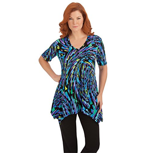 Womens Multicolor Waterfall Tunic Plus Size