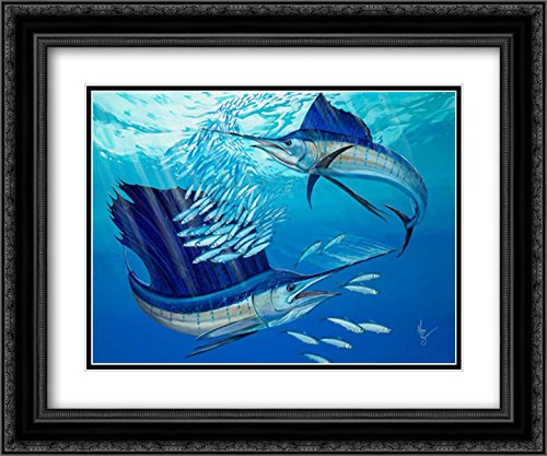Blue Heaven 2x Matted 24x20 Black Ornate Framed Art Print by Ray, Mark