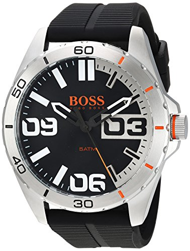 Dial Mens Orange - Hugo Boss Orange Berlin Black Dial Silicone Strap Men's Watch 1513285