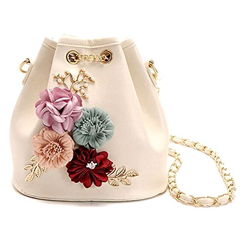 Decals Beige Chain Body Handmade Pearl Bags Bags Cross Bags Drawstring Bags SODIAL With Flowers Shoulder Small Bucket Beige Leaves Mini RUnqwT8